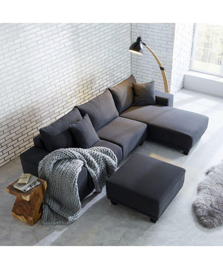 Wohnlandschaft Elina Inkl Hocker Und Kissen Grau Modern Holz Textil 254 153cm Momax Modern Living Moderne Couch Wohnen Wohnlandschaft