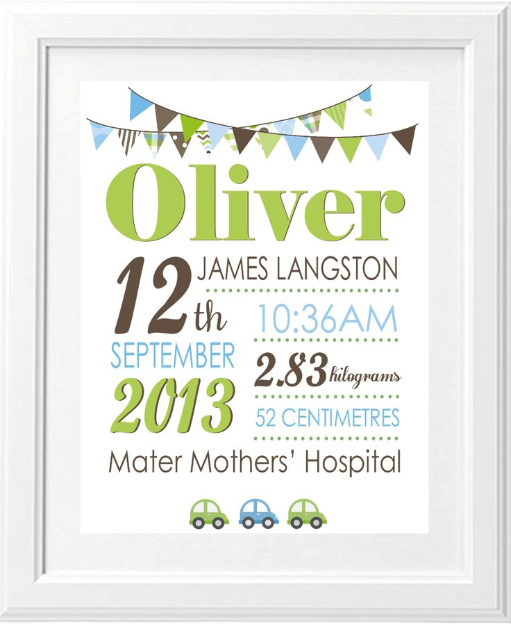 Birth announcement print, baby boy. Gorgeous Brash Design print green, brown and blues.