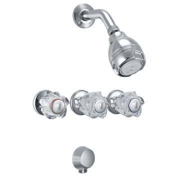 Mezcladora de ducha con conexión angular para ducha telefono linea mares colección cristal con salida vsi massage cromo
