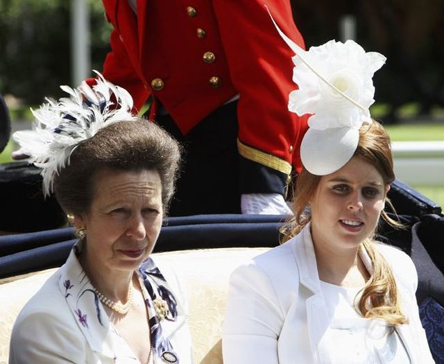 ASCOT, UNITED KINGDOM - JUNE 19: Princess Anne, Princess Royal and Princess Beatrice (R) arrive by horsedrawn carriage in the Royal Procession on Ladies Day at Royal Ascot racecourse on June 19, 2008, in Ascot, England. Today was the third day of The Royal Meeting which is one of the social and racing highlights of the summer. (Photo by Chris Jackson/Getty Images)