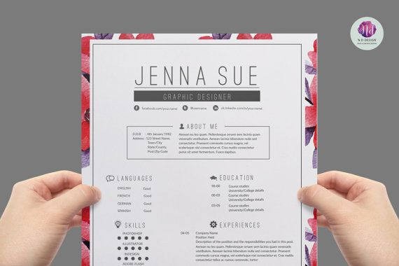 CV template / resume template   cover letter by ChicTemplates