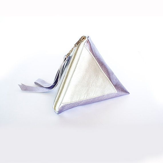 Metallic Lilac Pyramid Leather Clutch // Silver by gmaloudesigns