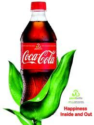 "Coca-Cola's ""Eco Friendly"" plant bottle. The company claimed it was aiding in reducing carbon footprint- and has been called out as green washing by Denmark."