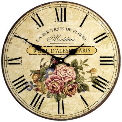 34cm Large Chic French Pink Fleurs Shabby Wall Clock