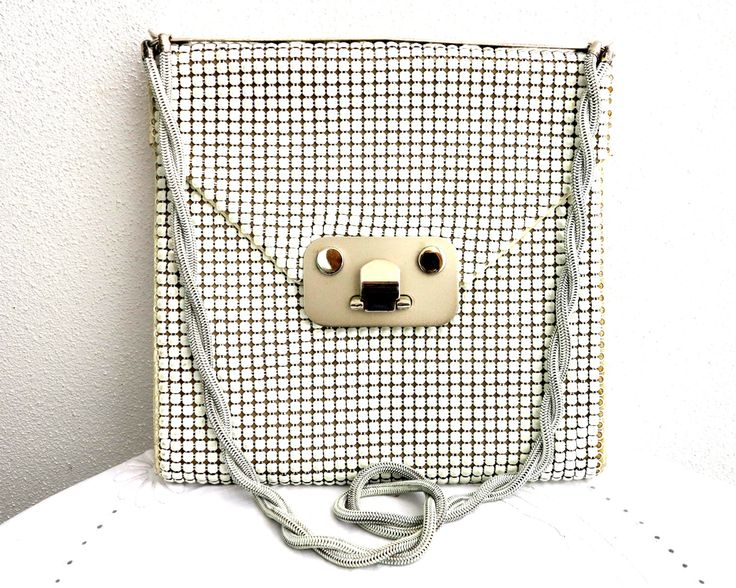 White mesh shoulder bag, unusual industrial style fittings, larger bag with larger mesh tiles, twisted double metal handle, Glomesh, 1970s by CardCurios on Etsy