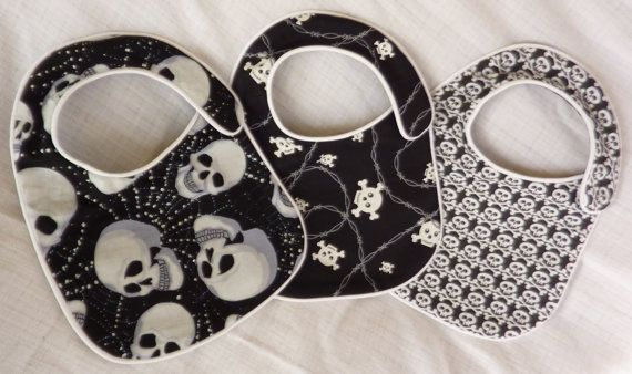 Punk Rock Baby Bibs - Back in Black Skulls - set of 3 bibs on Etsy, $18.00