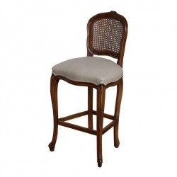Louis XV Bar Stool Shieldback Cane Upholstered 1