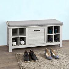 SoBuy® Banc de Rangement Commode Meuble à Chaussures avec coussin, FSR38-W,FR