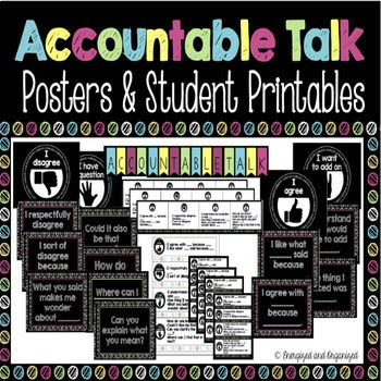 It's back to school time, and you want your new students to be engaged, respectful, and to take ownership of their learning. These accountable talk posters and student printables are all you need to incorporate stress-free student-led discussions into your classroom.