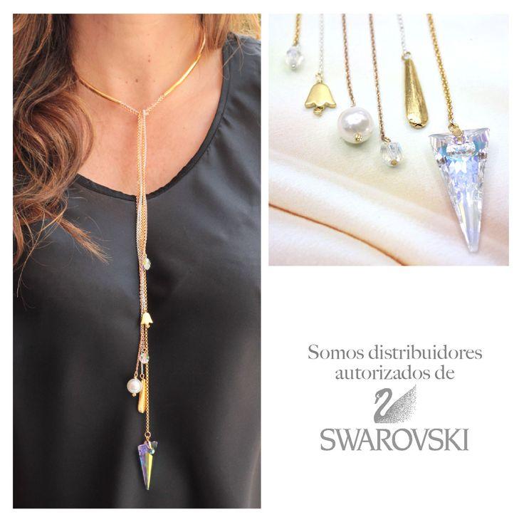 ¡Nos encanta el brillo y la exclusividad de los cristales Swarovski! Aprende a elaborar este collar haciendo clic en el pin. #Bisutería #Insumos #Accesorios #Moda #Tendencia #Joyas #Color #Tendencias #Diseños #CarolTv #DIY