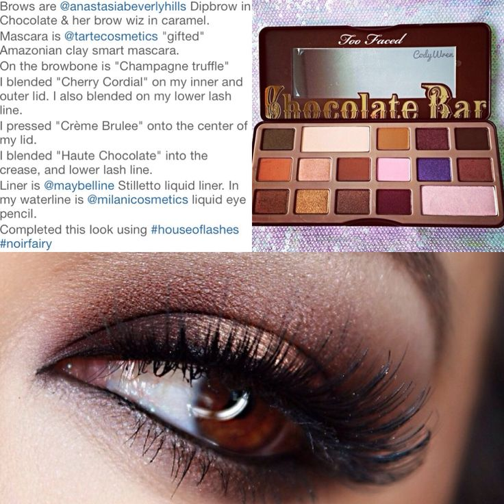 Here is @ domloveschris too faced chocolate bar look info. I'm getting this palette soon and I definitely want to try and recreate this. I think her look is the best I've seen so far
