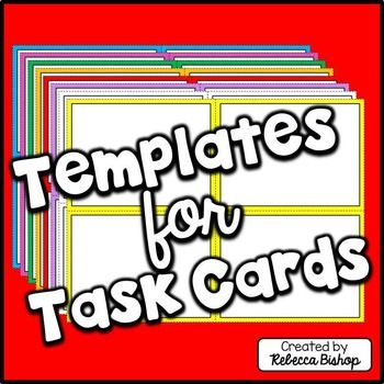 """Task Card Templates FREE-7 jpeg images and 2 png images withclear background-7.5"""" X 10""""Terms of use... Personal, educational, and commerciNo credit required.Thank you for your download and feedback! Rebecca :)Font for the Cover of this product is by KG FontsFor more activities...Bibliography Practice BundleCCGPS for the Media CenterCharacter Traits BundleDictionary Guide Words Printables - No prep!Dictionary Task Cards and PowerPoint BundleExpository Text Passage and Task CardsFamo..."""