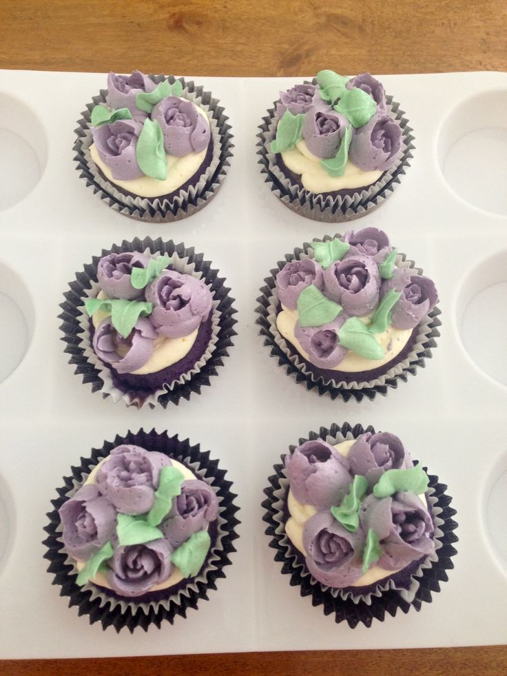 Ube Cupcakes Frosted With Tulips Made