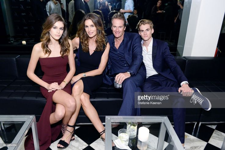 Kaia Jordan Gerber, Cindy Crawford, Rande Gerber and Presley Walker Gerber attend The Daily Front Row and REVOLVE FLA after party at Mr. Chow hosted by Mert Alas on April 2, 2017 in Los Angeles, California.