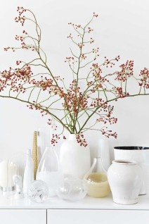 White vase with pink flowers- always a good idea!