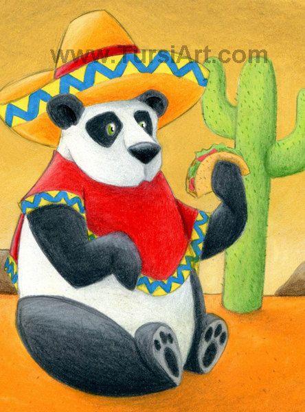 Mexican Panda Art Print Absurd Animal Illustrations Panda ...