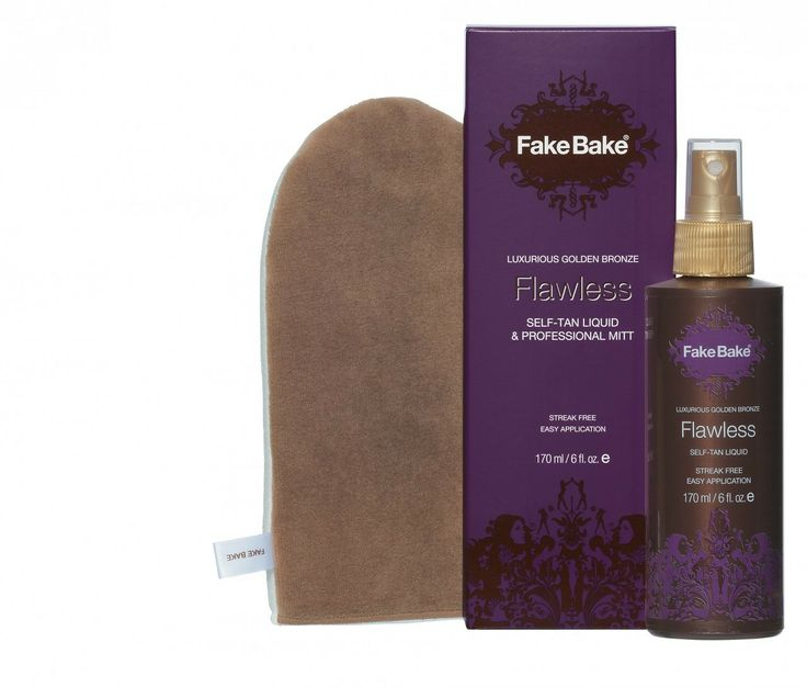 Fake Bake Flawless self-tanning liquid delivers professional color development and easy application. The liquid is applied with a professional mitt which is included with the package and the dual function cosmetic bronzer shows where it goes for an even tan every time. $24.95 on http://www.faceandbodyshoppe.com