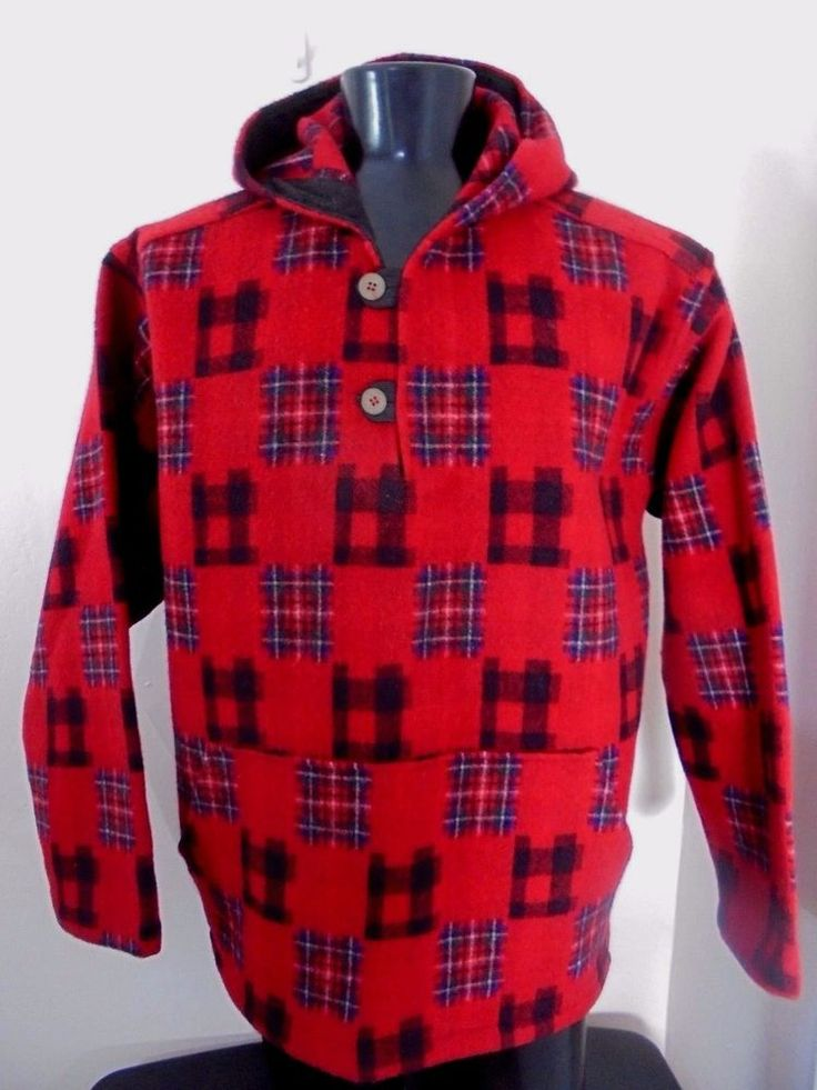 WOOLRICH Jacket Red Plaid Hooded Popover Men's Size XL Wool Vintage USA #Woolrich #BasicJacket