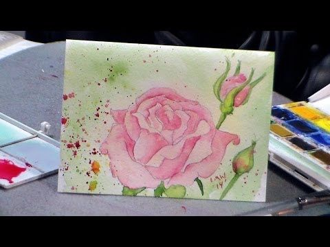 The Frugal Crafter Watercolor Tutorials on YouTube - Draw and Paint a Rose in Watercolor {redo!}