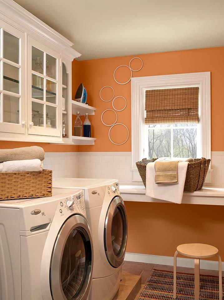 Orange And Blue Powder Rooms