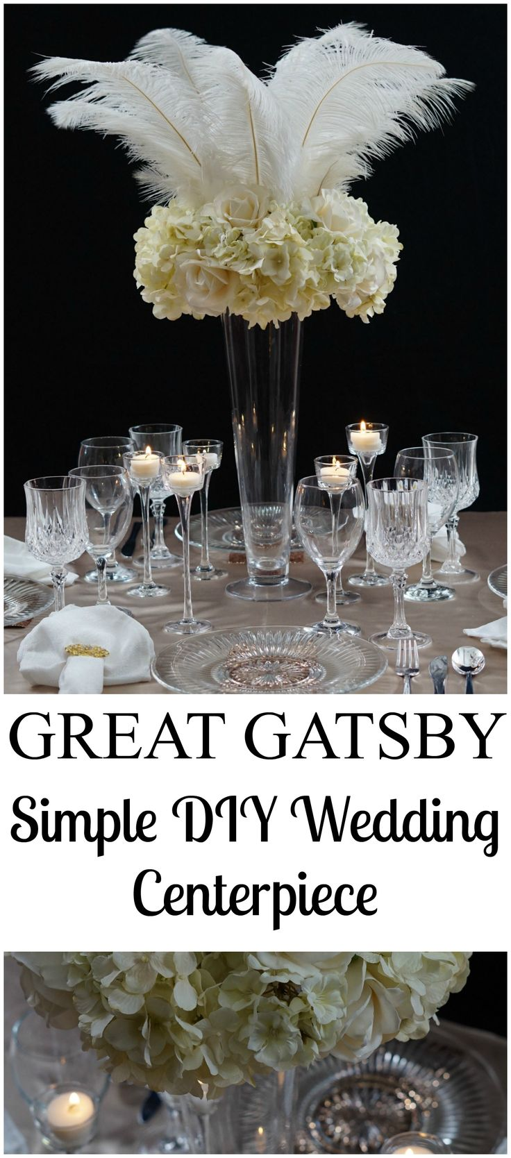 Roaring 20s | Great Gatsby-Inspired Feather Wedding Centerpiece!