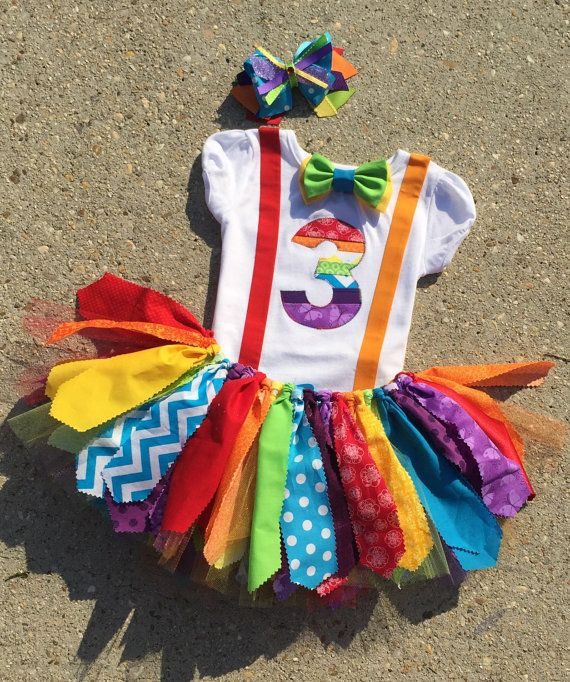 Rainbow birthday outfit Circus birthday outfit Clown by LilNicks