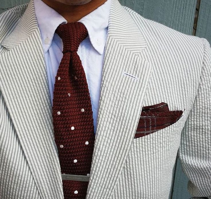 Seersucker suit, white OCBD, dark red knit tie