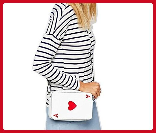 MONMOB Poker Card A of Heart Shaped Clutch Purse Women Girls Ladies Handbag White Red - Shoulder bags (*Amazon Partner-Link)