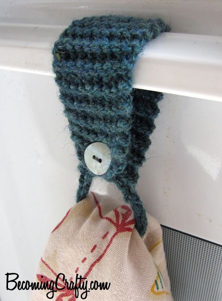 Great use for leftover yarn -- just uses 1 yard. Free knitting pattern for towel holder and more household knitting patterns