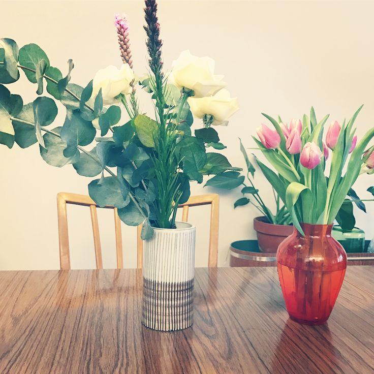 Retro, flowers, vase, tulips