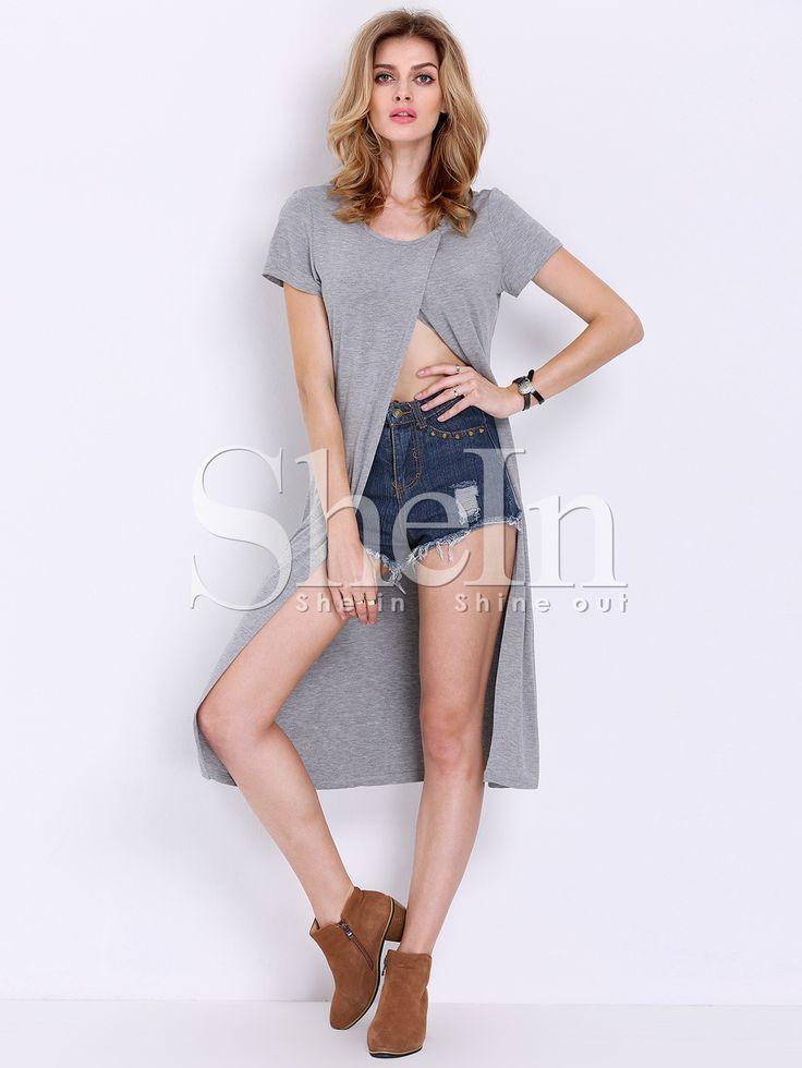 T-shirt fendu cape manche -gris 11.03