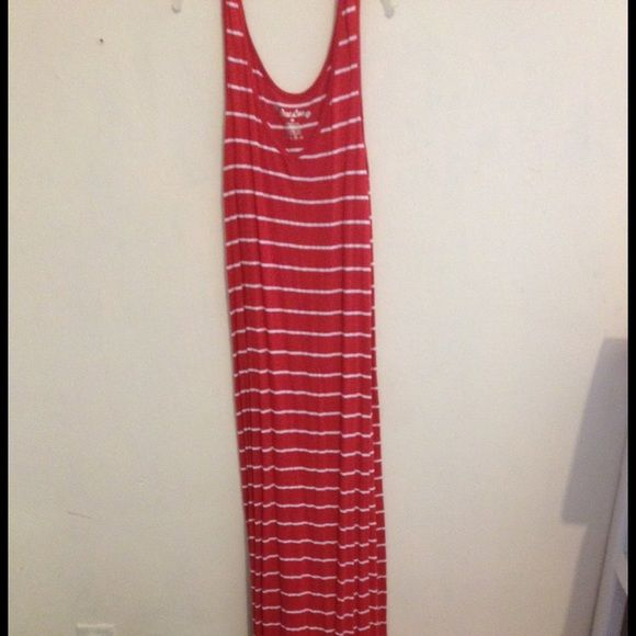 Maxi dress bundle The first is a red maxi dress with thin white stripes. It's a size small, has only been worn once and is a tank top maxi dress. It's thin, light weight and comfortable. The second is a black and grey striped tank top dress. It is also a size small and has only been worn once. It's also thin, light weight and comfortable. These dresses can be worn to places like the beach or a casual party. Dresses Maxi