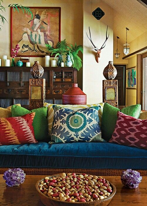 Pillows for couch  by Martyn Lawrence Bullard Design  love all the frabrics  on the couch  especially the blue velvet and the combo of colors. 44 best Boho images on Pinterest   Bedroom ideas  Guest bedrooms
