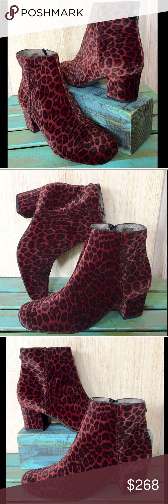 "Anthropologie Hudson Garnett Velvet Leopard 39 Anthropologie Hudson Garnett Velvet Leopard Ankle Boots  super soft rusty wine, black & brown leopard print velvet inside zipper * center seam & almond shaped toe New Without Box  *  Size:  39 retail price:  $298.00  * runs true to size   2.25"" heel * 5"" shaft Anthropologie Shoes Ankle Boots & Booties"