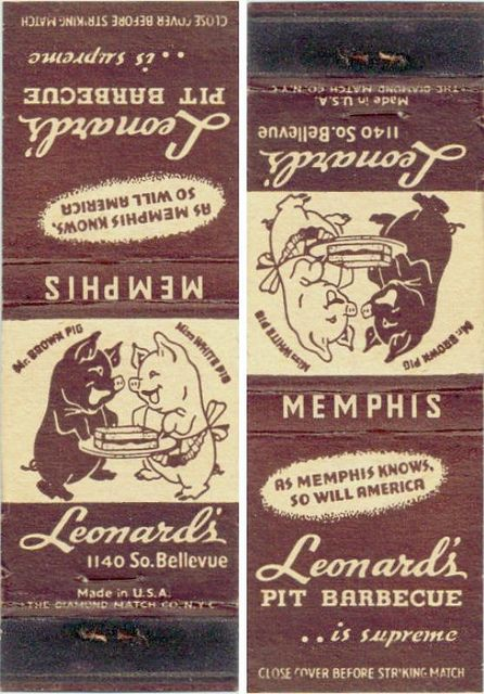 fun old Leonard's BBQ matchbook by ⓑⓘⓡⓒⓗ from memphis, via Flickr