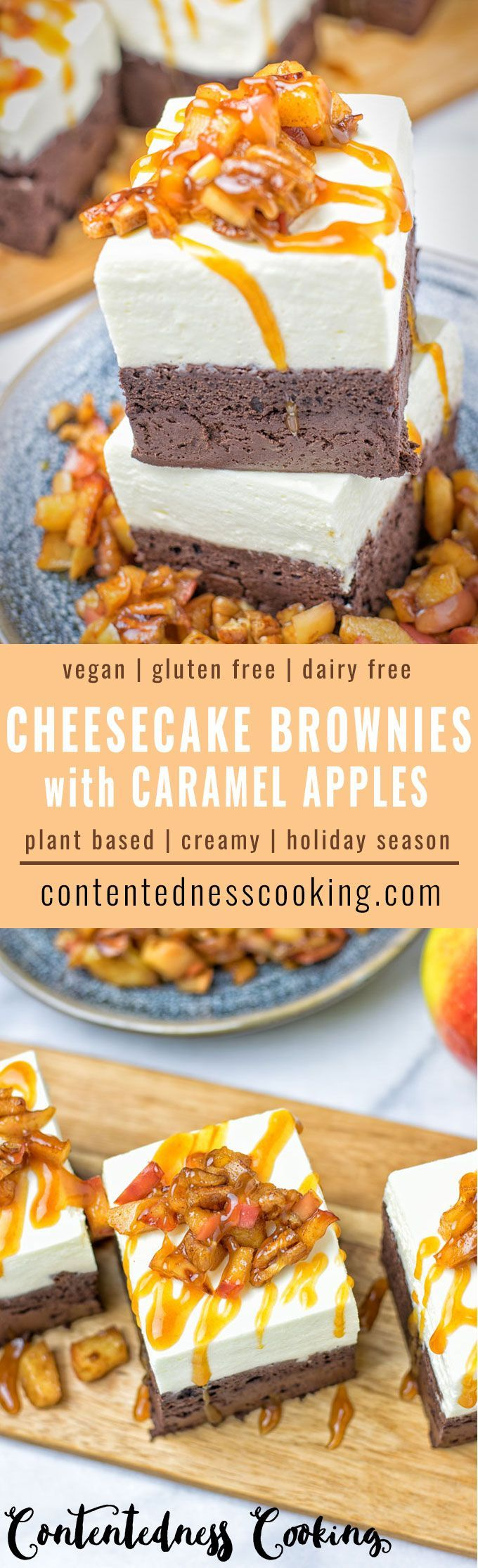 Tasty Cheesecake Brownies with Caramel Apples. Vegan, quick & easy to make, these gluten free brownies come out moist and sweet without added refined sugar. Absolutely delicious and perfect for a dessert full of fall flavors. Bring every Thanksgiving dinner to end on a high.