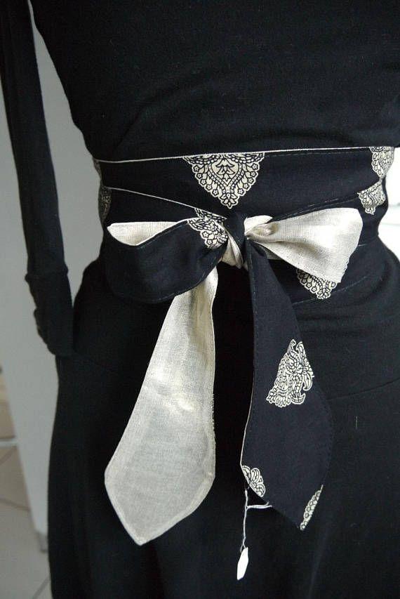 Obi belt reversible - black and white patterns cashmere + light ... ca36efc3085