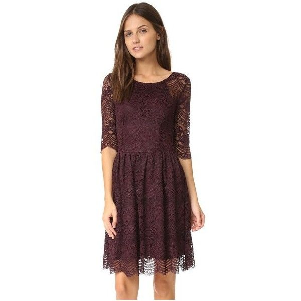 cupcakes and cashmere Geneva Lace Fit and Flare Dress ($92) ❤ liked on Polyvore featuring dresses, oxblood, scallop hem dress, 3/4 sleeve dress, lace dress, oxblood dress and scalloped dress