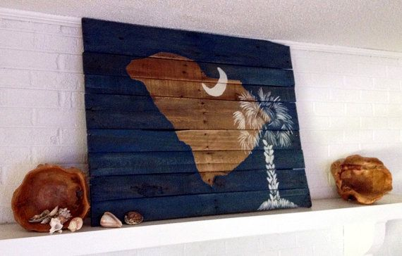 Reclaimed Wood South Carolina Flag by ConversationBits on Etsy, $209.00