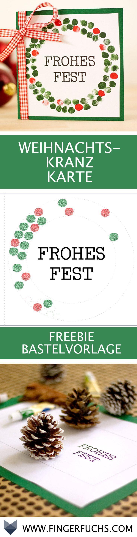 DIY Weihnachtliche Fingerabdruck Karte mit Weihnachtskranz. Super zum Basteln mit Kindern geeignet.