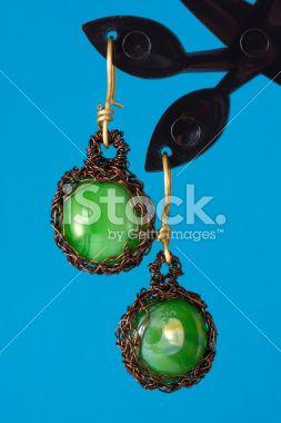 Wire Crochet Earrings Royalty Free Stock Photo