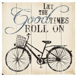Create an eye-catching vignette or delightful focal point with this inspirational wood wall decor, showcasing a whimsical bicycle theme and scrolling typography. Place it in your kitchen or near the entryway to give a cheerful twist to busy mornings.   Product: Wall decorConstruction Material: WoodFeatures: Ready to hang Note: Hanging hardware includedCleaning and Care: Wipe with damp cloth