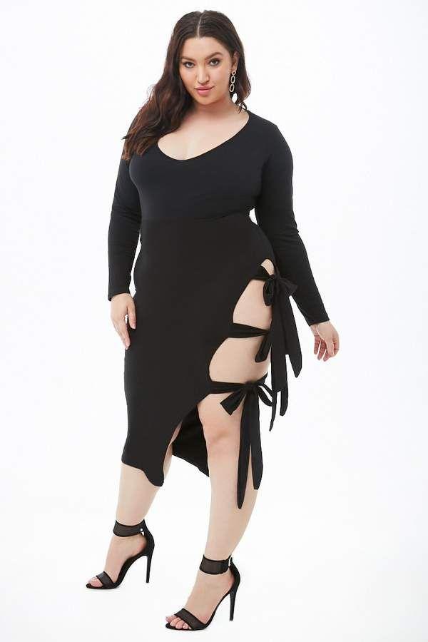 Forever 21 Plus Size Rebdolls Self-Tie Midi Dress | Elect ...