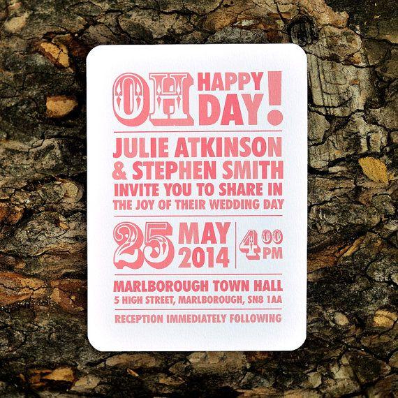 Modern Block Type Wedding Invitation  'Chunky by twoforjoypaper, $3.75