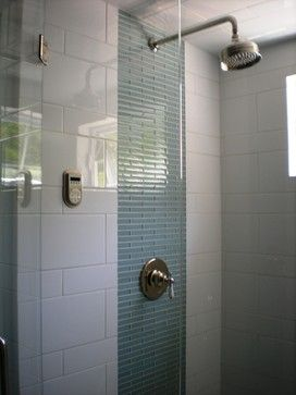 White Tile Shower w/glass strip-not white, but like the glass strip for accent around fixtures