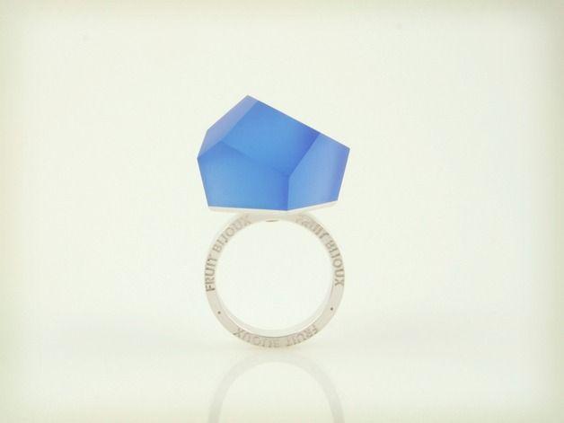 Vu–srebrny pierścionek, niebieski kobaltowy-=PYO=- - SzymonCiechorski - Pierścionki i obrączki