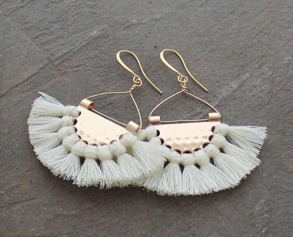 Fringe Earrings - White Tassel Earrings - Boho Tassel Earrings - Multi Tassel Earrings - Fan Earrings - Half Circle Earrings, Tassle Earring