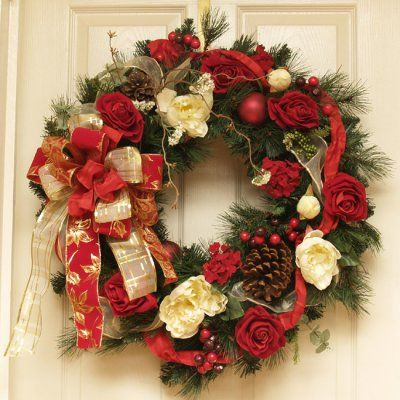 28: Elegant Rose and Peony Winter Holiday Wreath CR4668