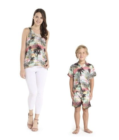 2eb1aec12 Matching Mother Son Set Women Tank Top Boy Outfit in Sunset Neon Pastel.  Find this Pin and more on Mother Son Matching Hawaiian Sets by Hawaii  Hangover.