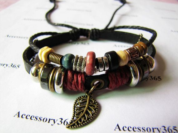 Men Or Women Soft Leather Bracelet With Color Bead By Braceletcool 7 50
